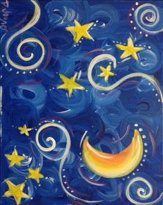 """Moon, stars and swirls. This business website for """"The Tipsy Canvas"""" has tons of good painting ideas. Star Painting, Moon Painting, Painting For Kids, Diy Painting, Painting & Drawing, Diy Canvas, Canvas Art, Wine And Canvas, Easy Paintings"""