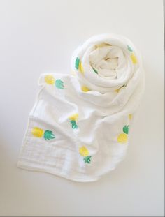 Organic Muslin Swaddle Blanket, Organic Cotton and Bamboo Muslin Hand Stamped in Sweet Pineapple, Organic Muslin Swaddle/ Muslin Blanket by FlamingoBaby on Etsy https://www.etsy.com/listing/220747709/organic-muslin-swaddle-blanket-organic
