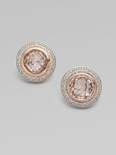 David Yurman - Diamond Accented 18K Rose Gold Morganite Button Earrings - Saks.com