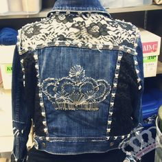 Keep Calm & Do It Yourself: DIY Balmain Denim Jacket // TUTORIAL - Great tutorial for adding contrasting fabric.  The spikes and studs are not my style. Would probably use something else, maybe gems and pearl beads.