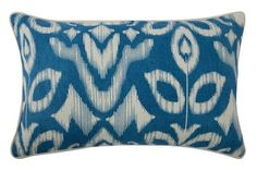 """Ikat 12"""" x 20"""" Reversible Pillow in Azure design by Thomas Paul - http://www.burkedecor.com/collections/view-all-pillows?page=3"""