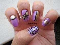 purple & gold nails