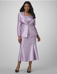 Shantung Gleam Skirt Suit