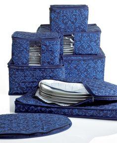 Homewear Fine China Storage Set, 8 Piece Navy Hudson Damask