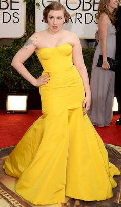 Lena Dunham on the red carpet at the Golden Globes