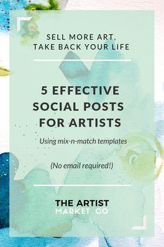5 Effective social posts for artists Social Media Marketing Business, Facebook Marketing, Marketing Plan, Social Media Tips, Online Marketing, Selling Art Online, Artist Life, Instagram Tips, Pinterest Marketing