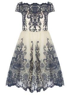 Dorothy Perkins Chi Chi London Curve Cap Sleeve Baroque Tea Dress, $89; us.dorothyperkins.com   - ELLE.com