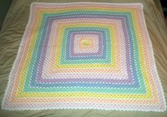 Granny Square Baby Blanket in Rainbow Colors by NiftyNeedlework, $29.99