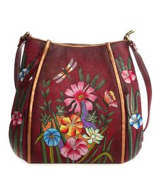 Look at this Magnifique Bags Red   Pink Floral Hand-Painted Leather Shoulder  Bag on  zulily today! ae60f458ea645