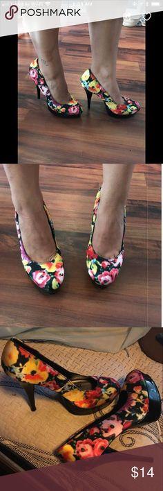 """91c24e138ef2 Bratz flowered stilettos Beautiful stilettos by Bratz 3"""" heels and gorgeous  vibrant flowered pattern of"""