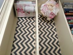 Found this chevron patterned fabric at Hobby Lobby. Love how it looks on our bookshelf!! & there's a sneak peak of my fabric wedding bouquet I started (;