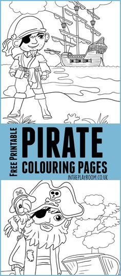 Pirate colouring pages for kids. Great for talk like a pirate day. Free printables