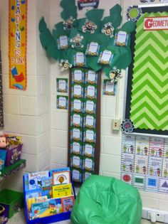 The Adventures of Miss Elisabeth's Classroom reveal: A closer look at the palm tree... It hold incentive charts for Box Tops. Each time a student brings in a sheet of 10 Box Tops they get a sticker. When they fill up a row {5 stickers} they get a trip to the treasure box. All from Creative Teaching Press.