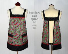 Classy Pinafore Apron in a retro black gingham fabric (with delightful cherries all over) which is designed to be so easy to put on and take off-- with no ties, buttons, or fasteners of any kind. (Originally designed for a friend with limited mobility.) Simply slip the apron over your head like a t-shirt and slide your arms into the generous openings to put it on. Apron rests totally on the shoulders, placing no strain on the neck. Super comfortable for all day wear! Apron fully covers your…