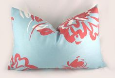 Decorative Pillow Cushion Cover - Accent Pillow - Throw Pillow - Duralee- Seaspray Flower, Blue Red White. $28.00, via Etsy.