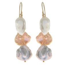 Imperial Pearls For You 14k Gold Multicolor Freshwater Keshi Pearl Dangle Earrings