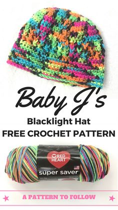 Don't you love the bright colors?  What a fun way to use Red Heart Super Saver Blacklight Yarn for this free crochet hat pattern.