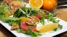A citrus and goat cheese salad prepared by Jill Wilcox at Jill's Table in London on Friday December Food Nutrition Facts, Goat Cheese Salad, Winter Salad, Cobb Salad, Cravings, Salads, Beef, Snacks, Meals