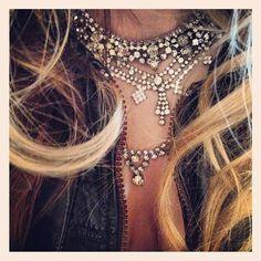 layered vintage rhinestone necklaces