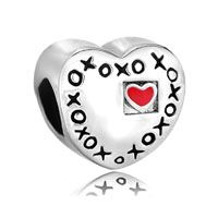 Red Heart Charm Bracelet Xoxo Hugs & Kisses Love Charm European Bead