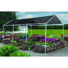 ShelterLogic Black SHADE CANOPY 8 x 20 ft. 25844 Shade and protect your live goods  sc 1 st  Pinterest & Flat Mesh Tarp Shade Canopies Flat pole canopy kits with a mesh ...