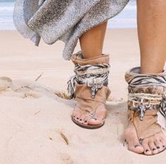 Apache style zebra scarf and bull skull detail sandals