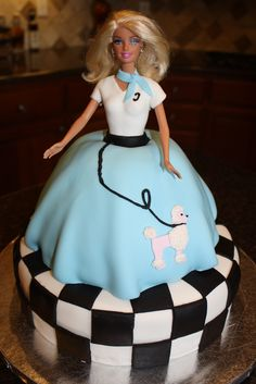 Sock Hop 50s' Barbie Cake - 50's Themed Birthday Cake.  Used fondant for most of the work.