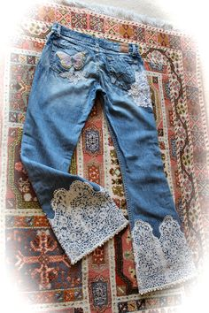 Women's Boho Jeans Antique Lace Embellished French Romantic Shabby Tattered Distressed
