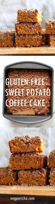 Vegan Gluten free Coffee Cake - Simple Fall Sweet Potato Pecan Crumb Cake with Pumpkin pie spices. Warm Cozy slice of cake. Gluten-free Soy-free Recipe.   VeganRicha.com