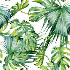 Seamless watercolor illustration of tropical leaves, dense jungle. vector art…