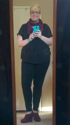 Top from Torrid, bottoms from Forever 21+, wedges and scarf thrifted, size 18.  THOSE SHOES THO