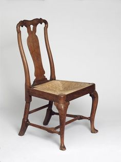 "1725-1740 British Chair at the Victoria and Albert Museum, London - From the curators' comments: ""Rush seats were common in the 18th and 19th centuries, even for fashionable chairs such as this. Rush was a cheap but visually appealing and comfortable material for a seat. Itinerant rush-makers replaced rush seats when they wore out, but following the decline in this craft, many chairs which were originally rushed have had their rush replaced with upholstery."""