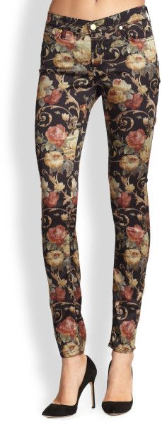 Love this: Floral Print Skinny Jeans 7 for all mankind dressmesweetiedarling