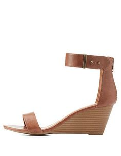a161310fb76 Two-Piece Wedge Sandals  Charlotte Russe Charlotte Russe