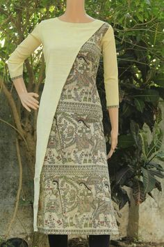 Kurthi Churidar Designs, Kurti Neck Designs, Blouse Designs, Salwar Pattern, Kurti Patterns, Casual Work Outfits, Simple Outfits, Kalamkari Dresses, Indian Designer Wear