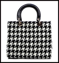 Houndstooth Print Fabric Handbag