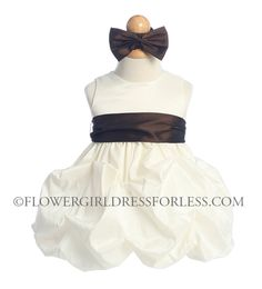 Girls Dress Style 599- IVORY Dress with Choice of 25 Sash and Flower Options $39.99