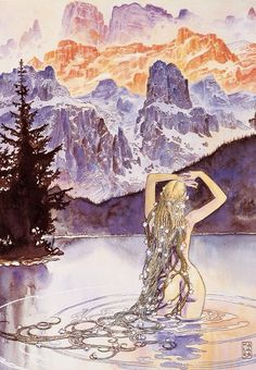 bluecohosh: why is it so hard to put the name of the artist under an image? this is by milo manara. a rad dude. purple nymph of the northe. Fantasy Anime, Fantasy Kunst, Fantasy Art, Art And Illustration, Manara Milo, Bd Art, Serpieri, Water Nymphs, Inspiration Art