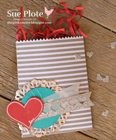 Lovely bag for #TGIF08 using Mini Treat Bag Thinlits, You're So Sweet Stamp Set, Envelope Paper, and Metallic Doilies...all from Stampin' Up!