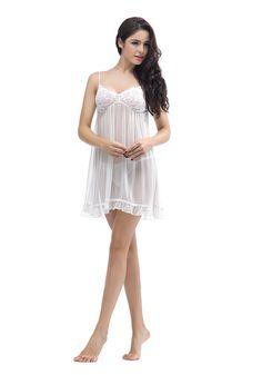 Silk women nightwear babydolls--Q06-ivory-(8-mm-Geogrette) babydolls #Silk #babydolls | Revesilk.com