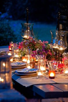 Pretty candle arrangements on rectangular would look good with  mylantern center pieces