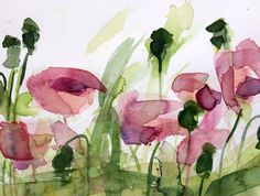 Poppies no. 17 Original Floral Watercolor by prattcreekart on Etsy