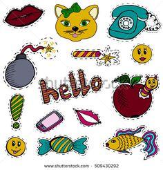 A set of fashion labels, badges. Old phone, lips, cat, bomb, firecracker, smiles, greetings, apple, caterpillar, sweet, fish, mobile phone, exclamation mark. Vector figures on a white  background  #bubushonok #art #bubushonokart #design #vector #shutterstock #pattern #set #doodle #banner #sticker #pin #stickers #badges   #logos #logo