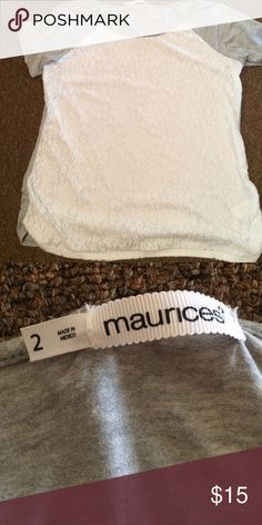 Size 2 Maurices lace front tee Size 2 Maurices lace front tee, very soft, worn twice, great condition! Maurices Tops