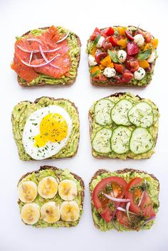 Easy and quick ways to top an avocado toast all with fresh ingredients for breakfast, lunch, or dinner! Easy and quick ways to top an avocado toast all with fresh ingredients for breakfast, lunch, or dinner! Healthy Snacks, Healthy Eating, Healthy Recipes, Clean Eating, Simple Healthy Breakfast Recipes, Recipes With Avocado, Easy Recipes, Diet Recipes, Diet Snacks