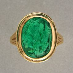 Natural carved emerald ring--stunning!