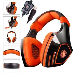 SADES A60 Game Headset Vibration Function and 7.1 Surround Sound Professional Headphone Earphone Black-Blue