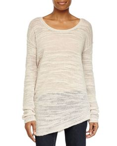 Long-Sleeve Asymmetric Sweater, Cream by Halston Heritage at Neiman Marcus.