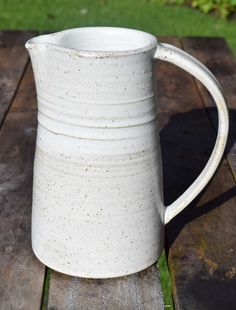 large Jug/ pitcher, handmade ceramic jug, pottery jug with speckled white stoneware glaze by TimFennaCeramics on Etsy Ceramic Decor, Stoneware, Glaze, Handmade Ceramic, Pottery, Ceramics, Crafts, Etsy, Enamel