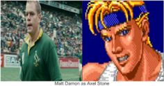 """Matt Damon as Axel Stone. He was perfect as Francois Pienaar in """"Invictus"""". I think he would be great as Axel Stone in the Streets Of Rage movie. Beat Em Up, Matt Damon, Stone, Tv, Movies, Rock, Films, Television Set, Film"""